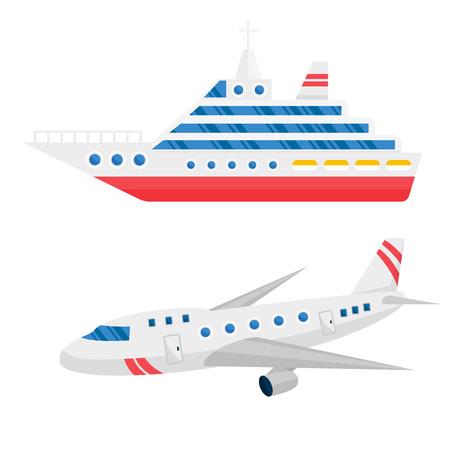 Ship cargo and airline avia transportation vector illustration. Illustration