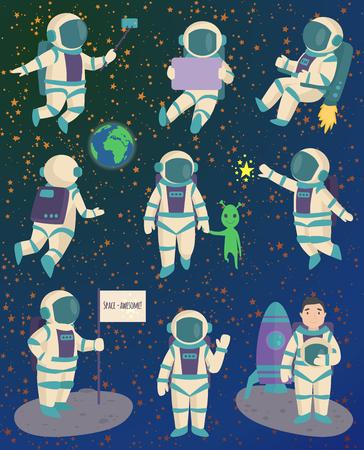 벡터 우주 비행사 문자 포즈.