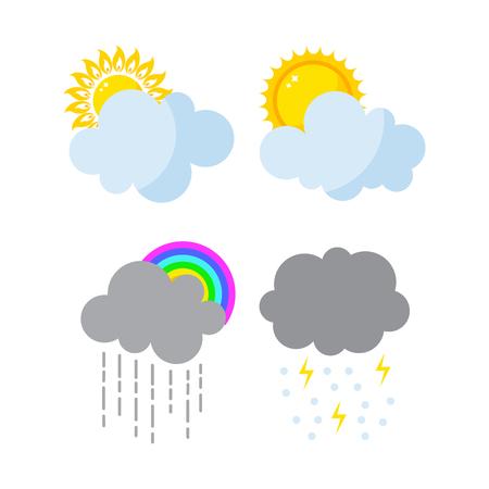 rainbow umbrella: Set of weather icons vector.