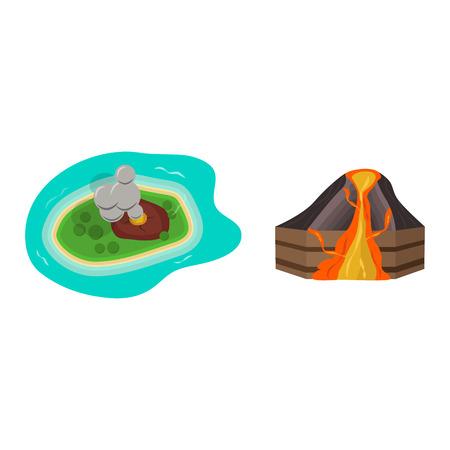 natural forces: Volcano set vector illustration. Illustration