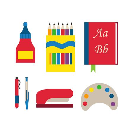 slingshot: School supplies vector illustration.