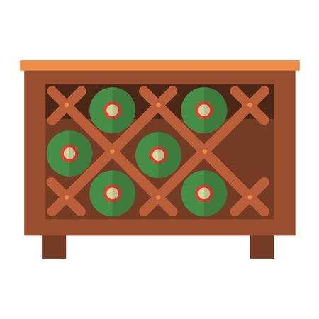 wooden crate: Wine bottles in wooden crate box vector illustration