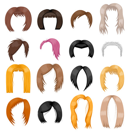wigs: Wigs hairstyle vector illustration. Illustration