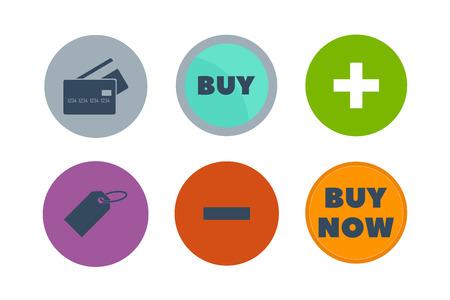 shopping chart: Shop buttons vector set.