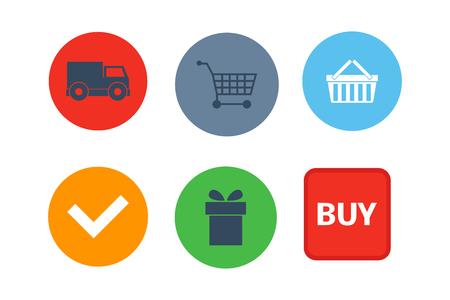 Shop buttons vector set.