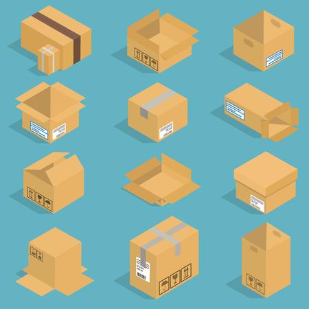 Isometric moving box vector illustration Illustration