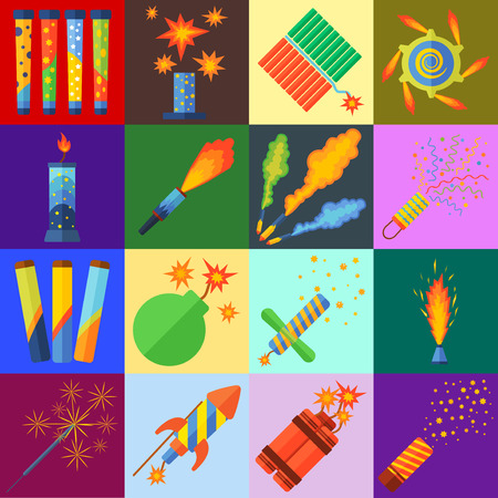 pyrotechnics: Pyrotechnics and fireworks vector.