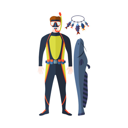 deep sea diver: Spearfishing vector set.