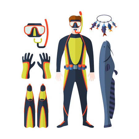 Spearfishing vector set.