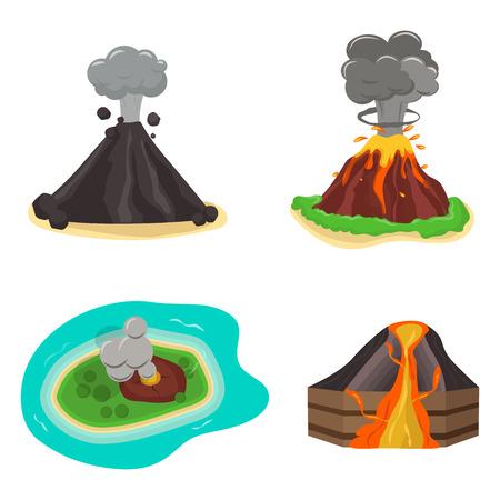 火山は、ベクター グラフィックを設定します。