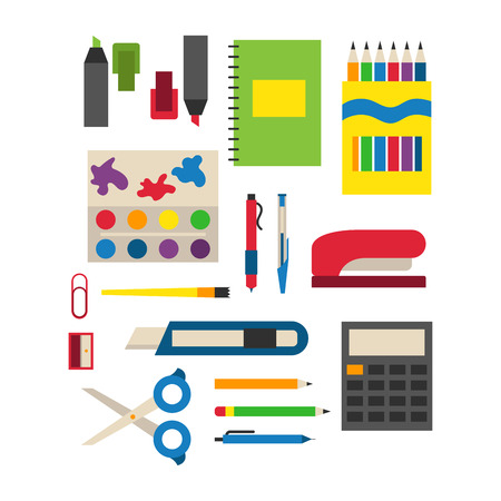 school: School supplies vector illustration.