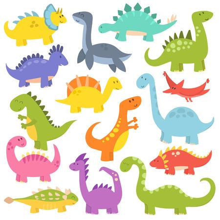 Vector collection of cute cartoon dinosaurs. Funny monster animal tyrannosaurus. Lizard prehistoric wild comic triceratops predator character.