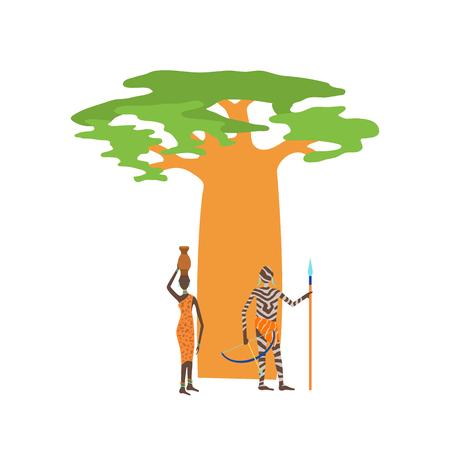 Baobab tree isolated on white vector illustration. Illustration
