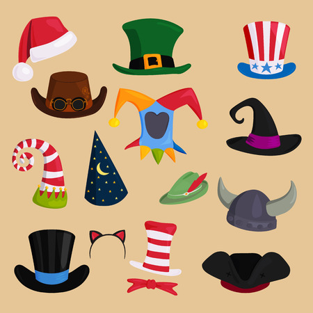 Different funny hats for party, holidays and masquerade vector. Illustration