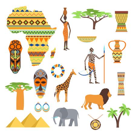 Africa symbols and travel vector set. Vetores
