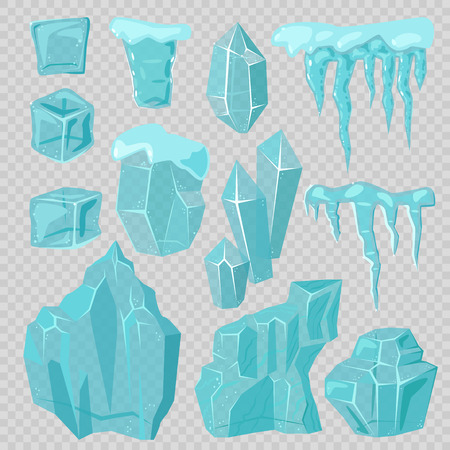 Ice caps snowdrifts and icicles elements vector set Illustration
