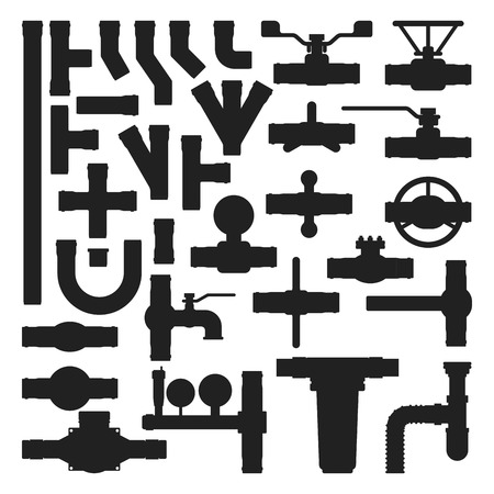 canalization: Pipes vector icons silhouette isolated.