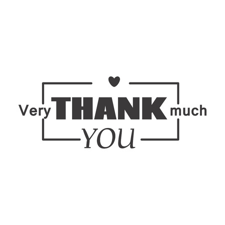 Thank you text lettering vector badge. Illustration
