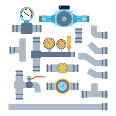 canalization: Pipes vector icons isolated.