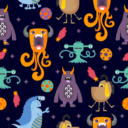 Nette lustige Cartoon-Monster nahtlose Muster
