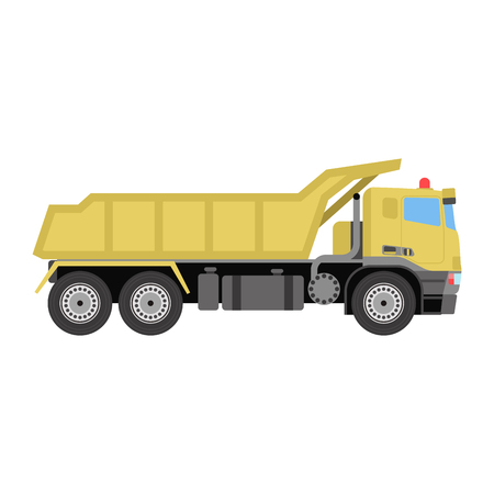 construction vehicle: Vector tipper construction industry vehicle illustration.