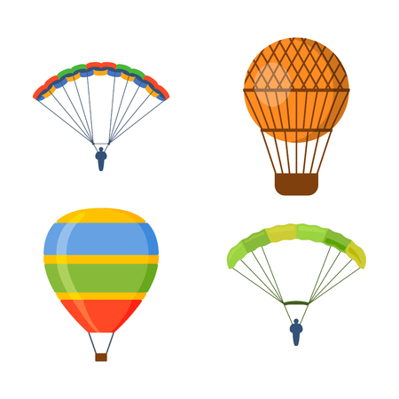 aerostat: Ballon aerostat transport vector set.