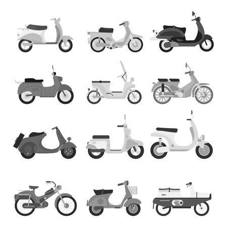 Retro vector scooter silhouet illustratie.