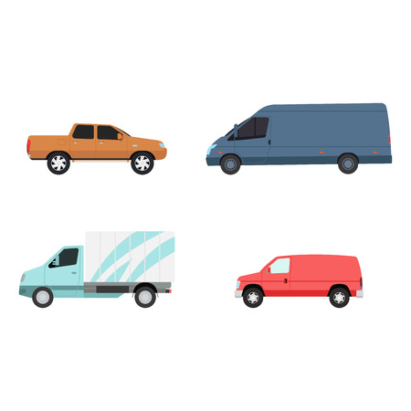 tractor trailer: Different cars transport vector set.