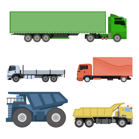 business service: Different cars transport vector set.