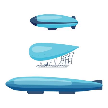 airship: Ballon aerostat transport vector set.
