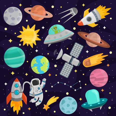 Space cartoon set vector.