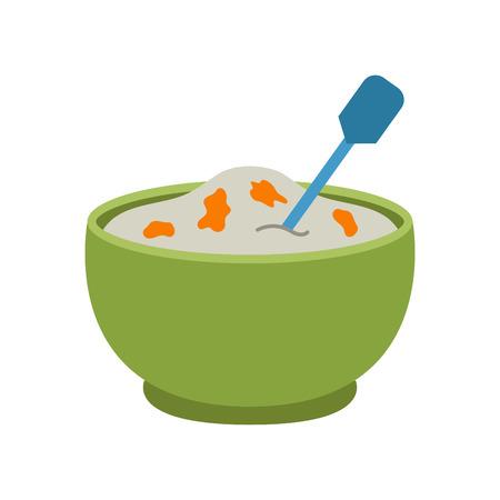 Semolina porridge vector illustration. Illustration