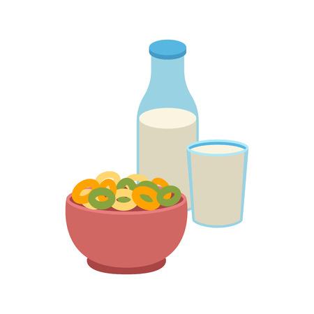 produits céréaliers: Cornflakes de bouillie de semoule et illustration vectorielle de lait. Illustration