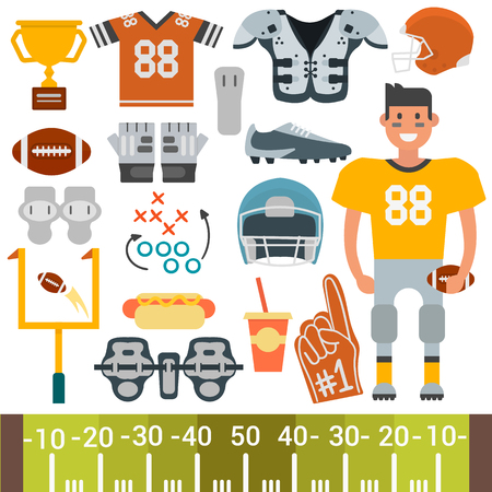 floodlit: American football player and icons vector cartoon style Illustration