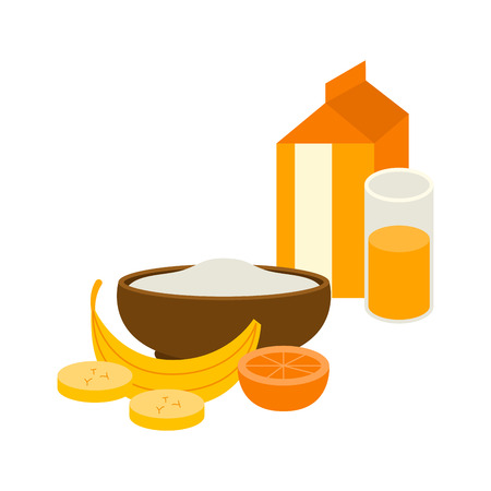 Semolina porridge with banana and orange juice vector illustration.