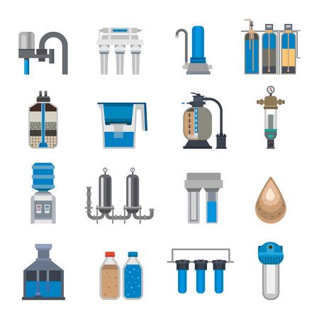 filtración: La filtración del agua iconos ilustración vectorial.