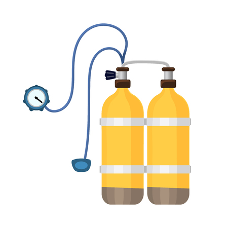 Aqualang breathing cylinder tool or scuba flat design style icon. Oxygen balloons. Vector illustration of yellow diving equipment. Underwater sport item.