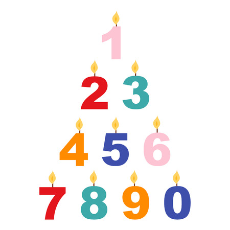 Vector candle numbers romantic wax party decoration.