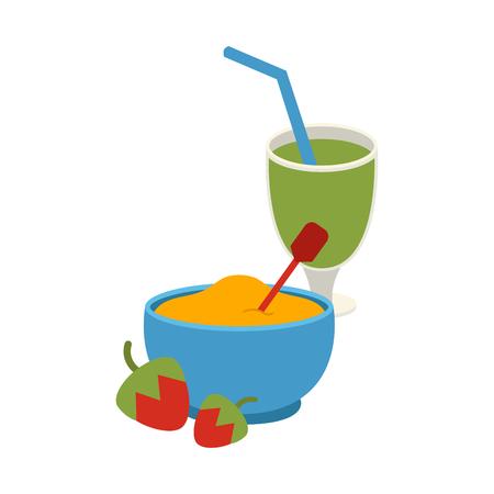 produits céréaliers: Glaçage à la semoule avec illustration vectorielle de fraises et smoothies. Illustration