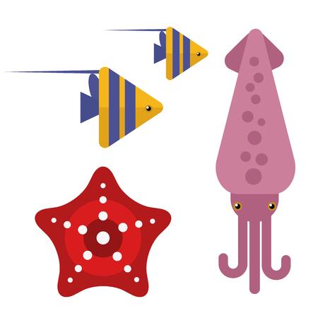 Les animaux marins de couleur calamar conçoivent une illustration vectorielle plate.