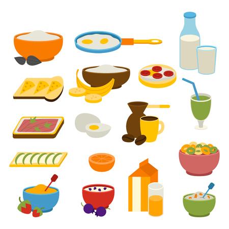 Healthy breakfast vector set.