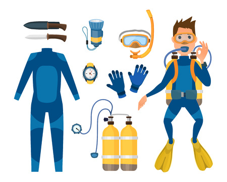 Spearfishing diving equipment vector set.