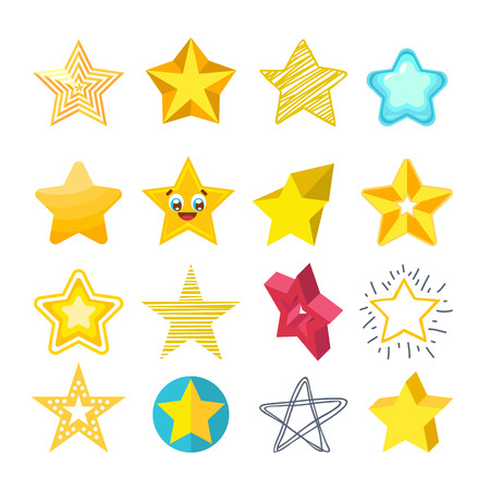 Shiny star icons in different style isolated vector Illustration