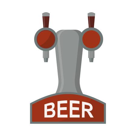 Equipment for dispensing beer isolated vector illustration. Illustration