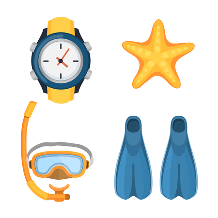 footwear: Snorkeling or scuba fins or flippers isolated on white. Underwater swimming deep professional shoe exercise. Water sport footwear equipment vector clock and starfish. Illustration