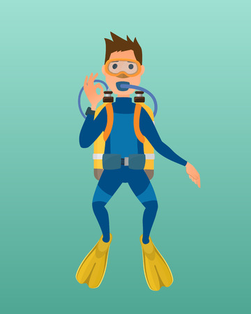 wetsuit: Scuba diver with diving mask, wetsuit and flippers on blue background. Underwater equipment vector illustration. Hobby swimming adventure. Swim travel marine protective swimwear. Illustration