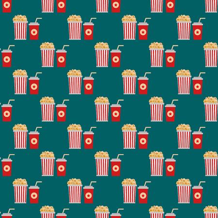 Popcorn box seamless pattern vector illustration. Illustration