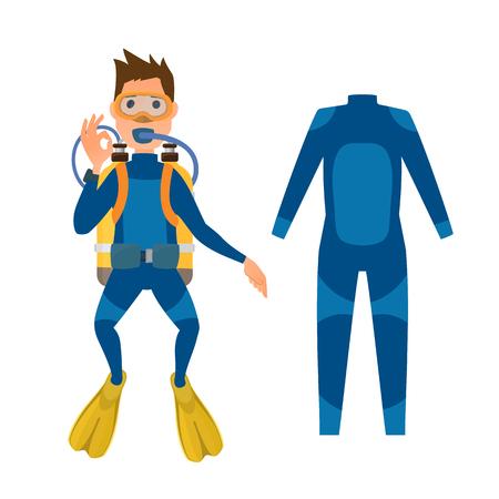 Diving suit scuba underwater equipment vector illustration. Illustration