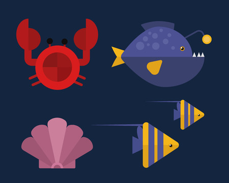 Vector cartoon illustration of cute crab character. Illustration