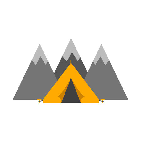 mountaineering: Outdoor tent mountaineering sport illustration. Illustration